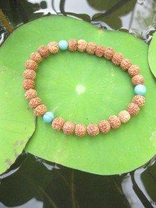 B 6.5 - 13 bracelet rudraksha turquoise yoga