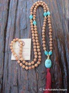 MT 254 LP turquoise pure evasion bijouterie aum Rudraksha Collier bracelet